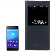 Para Sony Xperia C6 Litchi Texture Horizontal Funda De Cuero Flip Con Llamada Pantalla Id (azul Oscuro)