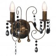 vidaXL fekete antik falilámpa gyöngyökkel 2 x E14