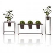 [casa.pro] 3 diferentes tipos de Soporte de flores - Macetero - con estilo, decorativo - Marrón oscuro - Metal