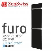 ZenSwiss furo Music Handtuchtrockner 42 x 160 cm (Matt Schwarz)