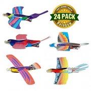 DomeStar 24 Pack Bird Foam Glider Planes Fighter Jets Airplane, Bird Gliders, Bird Planes, Assorted Colors