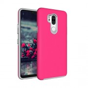 Anti-slip Armor Texture TPU + PC Case for LG G7 ThinQ(Rose Red)