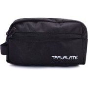Travalate 2 Zipper Toiletry Bags Makeup Shaving Kit Pouch for Men and Women, Polyester Travel Bag with Belt - Red Travel Toiletry Kit(Black)