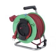 Prelungitor electric pe tambur de plastic 50m cablu cauciuc 3x1,5 mm², pentru exterior IP44