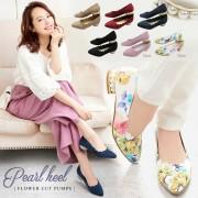 ≪プライスダウン★クリアランスセール!!≫きらめくヒールで存在感をプラス!フラワーカットDesign☆パールヒールパンプス/シューズ[I1406]