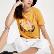 River Island Womens Yellow 'LA California' print T-shirt (Size 18)