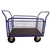 HTI Plošinový vozík 1100x700 - se sítí a bočnicemi - 500 kg - Nafukovací kola