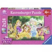 Детски пъзел 2 в 1 - Дисни принцеси Палас Петс - Ravensburger, 707727