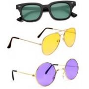Elligator Aviator, Wayfarer, Round Sunglasses(Green, Yellow, Violet)