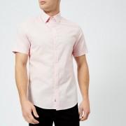 Michael Kors Men's Slim Fit Micro Pin Dot Garment Dyed Short Sleeve Shirt - Faded Pink - S - Pink