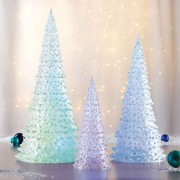 Set Of 3 Trees With Colour Changing Led Light Christmas Decoration Battery Timer