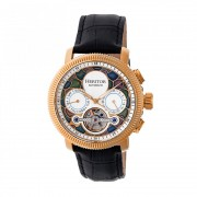 Heritor Automatic Aura Men's Semi-Skeleton Leather-Band Watch - Rose Gold/White HERHR3506