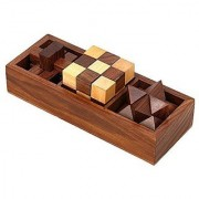Desi Karigar 3-In-One Wooden Puzzle Games Set - 3D Puzzles