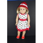 Red and White Sun Dress with Vintage Cherry Design Designed for 18 Inch Doll Like the American Girl Dolls