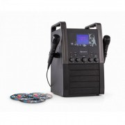 Auna KA8P-V2 BK Equipo de Karaoke Reproductor CD AUX 2 x micrófonos 3 x Karaoke-CD+G (KS1-SingAboutBkCD)