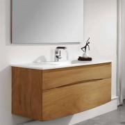 O'Design Meuble suspendu avec vasque intégrée en solid surface 90 cm - Iroko