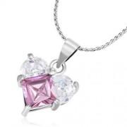 Ezüst színű nyaklánc szív alakú cirkónia kristályos medállal