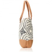 INDOFAS Women's Canvas Printed With PU Leather Tote Bag (IDFMIA005 Multicolor)