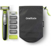 Aparat hibrid de barbierit, tuns barba si parul corporal Philips OneBlade QP2630/30, 4 piepteni, 2 lame, Negru/Verde + Pelerina One Blade