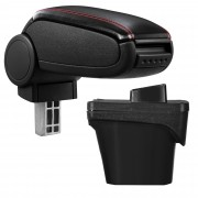 [pro.tec]® Lakťová opierka pre Peugeot 308 II - lakťová opierka - s odkladacím priestorom - koženka - čierna, červené prešitie