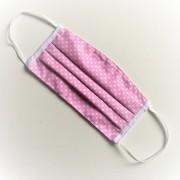 Textil, mosható, 2 rétegű szájmaszk - Pink-fehér pöttyös