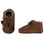 XQ Little Shoes Baby schoentjes cognac, leer en wol gevoerd.