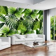 ponana Papel Tapiz Mural 3D Personalizado Selva Tropical Tropical Hojas De Plátano Murales Fotográficos Sala De Estar Restaurante Café Telón De Fondo Murales De Papel De Pared-400X280Cm