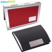 Billionbag New Steel Red Leather Metal Business ATM & Black Leather Stainless Visiting 6 Card Holder(Set of 2, Multicolor)