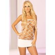 Bela mini haljina sa širokom mrežom PINKLIP292