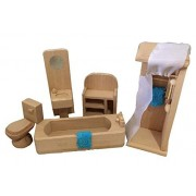 Lovely Mini Wooden Bathroom Furniture Toys Set Durable Kids Play House Toys