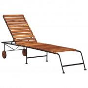 vidaXL Șezlong cu picioare din oțel, lemn masiv de acacia