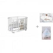 Антел Кроватка-трансформер Антел Северянка 3 Корона 6 в 1 с матрасом AmaroBaby Soft Dream Ellipse и комплектом AmaroBaby Воздушный
