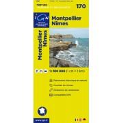 Fietskaart - Wegenkaart - landkaart 170 Montpellier - Nimes | IGN