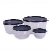 Incrizma Plastic 8-piece Black Lid Plastic Bowl Set - SET OF 8