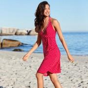 Tupfen-Badeanzug oder -Kleid, Kleid - 42 - Rot/Weiss