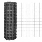 vidaXL Оградна мрежа, 10x1,7м, с 77x64мм плетка от стоманена сива тел