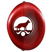 GERMAN SHEPHERD Circle Swirly Metal Wind Spinner