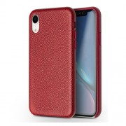 QIALINO Classic Litchi Texture Calf Skin Genuine Leather Coated PC Back Cover for iPhone XR 6.1 inch - Red