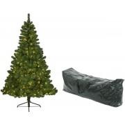 Kunst kerstboom Imperial Pine met verlichting en opbergzak - 525 tips - 180 cm dennengroen - Kunstkerstbomen en opbergzakken