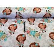 Kék nagy virágos, szuper rugalmas polyester textil, 150 cm széles