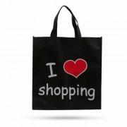 """Bevásárlótáska - """"I love shopping"""" - 40 x 40 cm"""