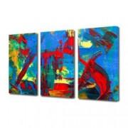 Tablou Canvas Premium Abstract Multicolor Pata De Rosu Pe Fundal Albastru Decoratiuni Moderne pentru Casa 3 x 70 x 100 cm