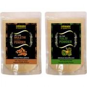 Donnara Organics 100% Natural Mulethi(Licorice) Powder and Tulsi powder Combo pack of 2 of 150 gms(300 gms)