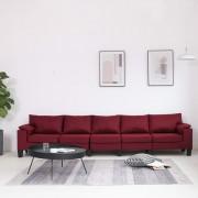 vidaXL 5-местен диван, виненочервен, текстил