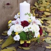 Lumanare de botez hortensie si trandafiri LB013