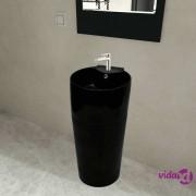 vidaXL Crni Keramički Okrugli Umivaonik sa Zaštitom od Prelijevanja