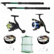 Set pescuit cu 2 lansete eastshark 2 4 metri doua mulinete si accesorii
