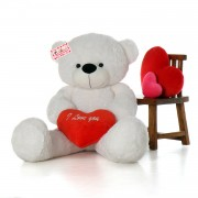 Grabadeal Fat Teddy Bear holding I Love You Heart (White) - 150 cm