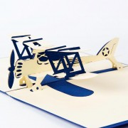 Airplane model 3D laser cut pop up blank holiday happy birthday greeting cards gifts post cards wishes bulk wholesale 4006