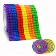 Block Tape for Lego Bricks, 6 Rolls Self Adhesive Baseplate Strips (3.3Ft/ Roll), Non-toxic Cuttable Reusable Silicone Loops for Lego Lover,Kids Toy Gift, Compatible with Major Building Blocks